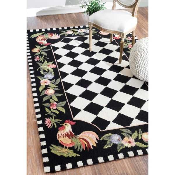 nuloom hand-hooked moroccan rooster checkered wool rug (3'6 x 5'6