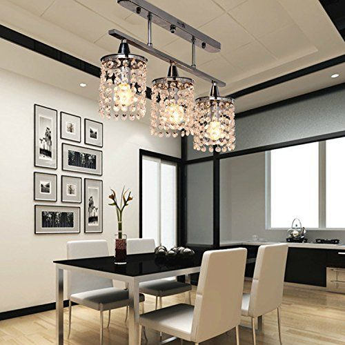 OOFAY LIGHT 3 Lights Hanging Crystal Linear Chandelier With Solid Metal Fixture Modern Flush Mount Ceiling Light For Entry Dining RoomGallery