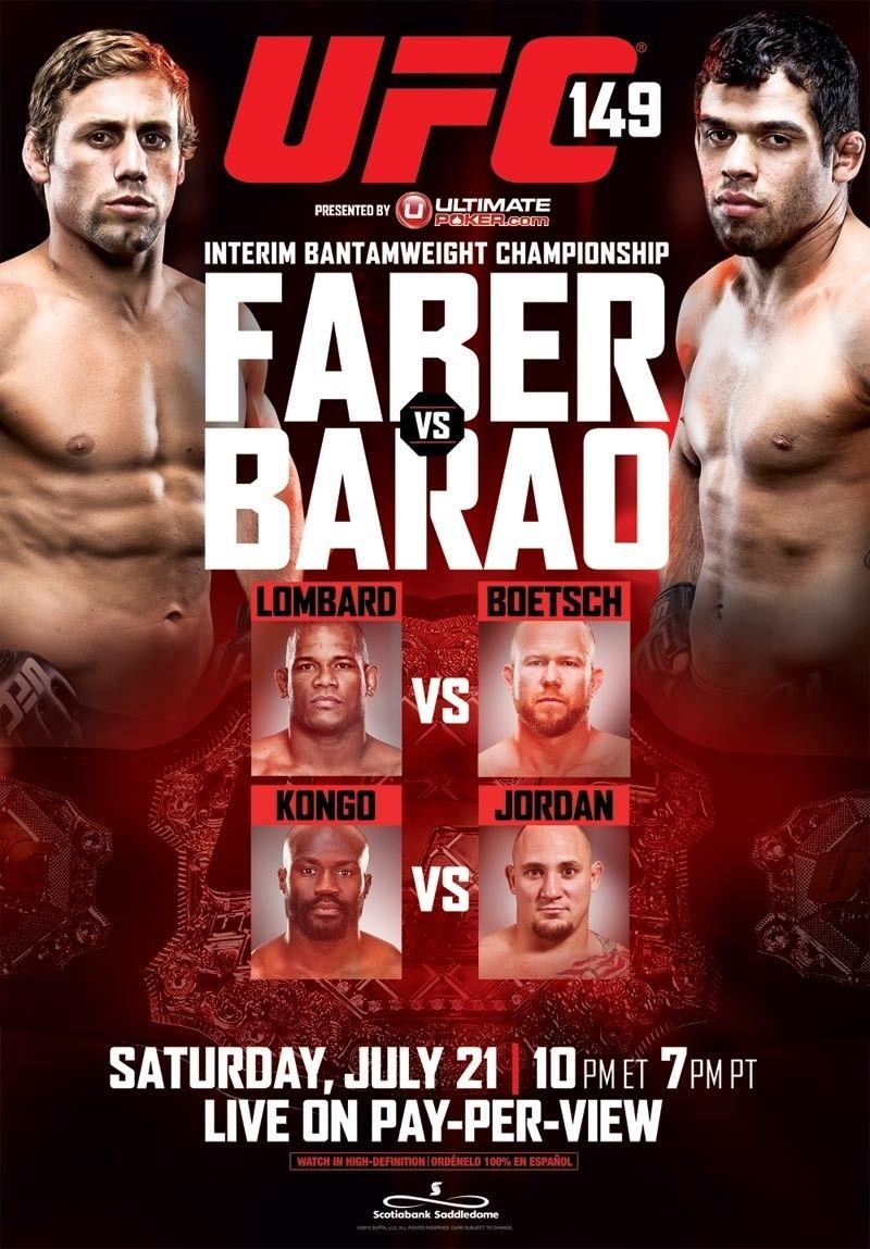 UFC 149 Faber Vs. Barao Ufc, Ufc poster, Event poster