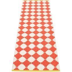 pappelina Marre Outdoor-Teppich – korallrot / vanille mit senffarbener Kante 70 x 225cm PappelinaPap