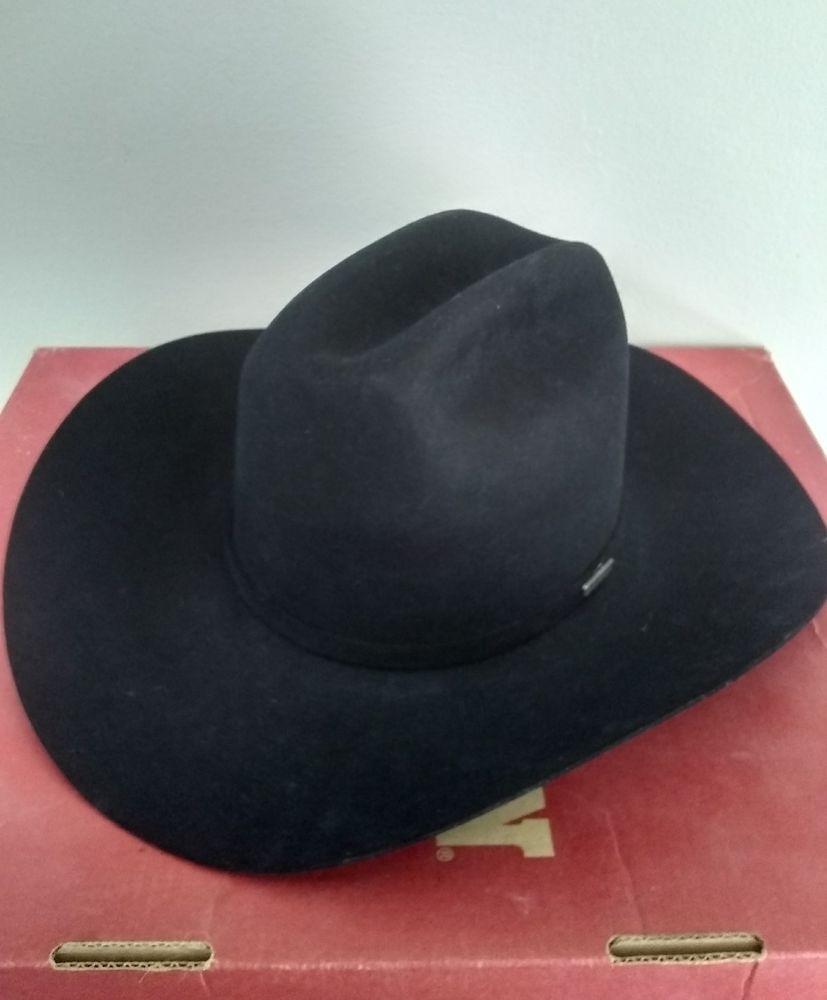 77f0df8bbd Stetson 7 1/8 BLACK LONG OVAL 4X Beaver Western cowboy Hat with box ...