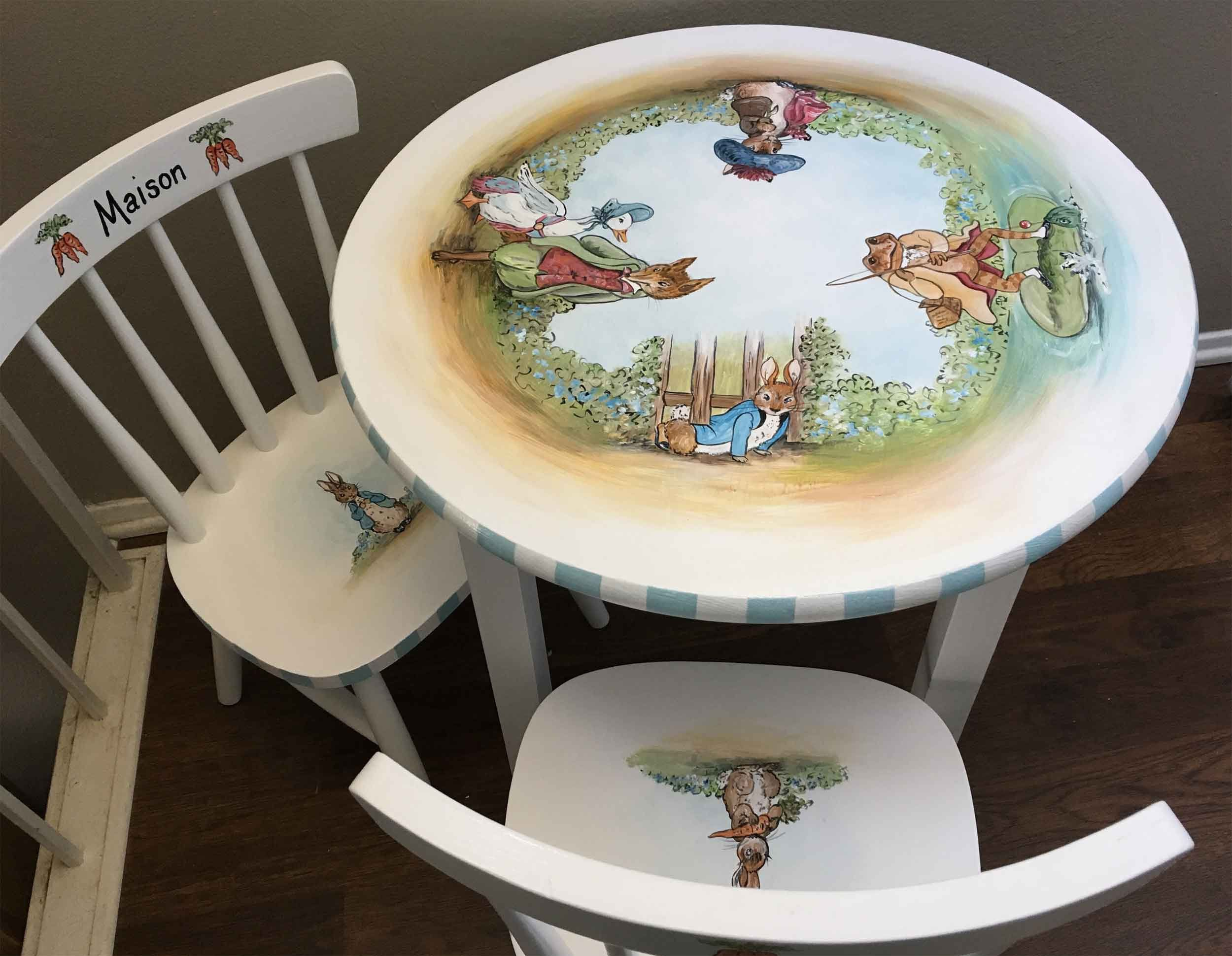 Hand Painted Kids Table And Chair Set Children S Table And Chairs Kids Painted Furniture Peter Rabbit Table Set Kids Table And Chairs Paint Kids Table Painting Kids Furniture Child's table and chair set