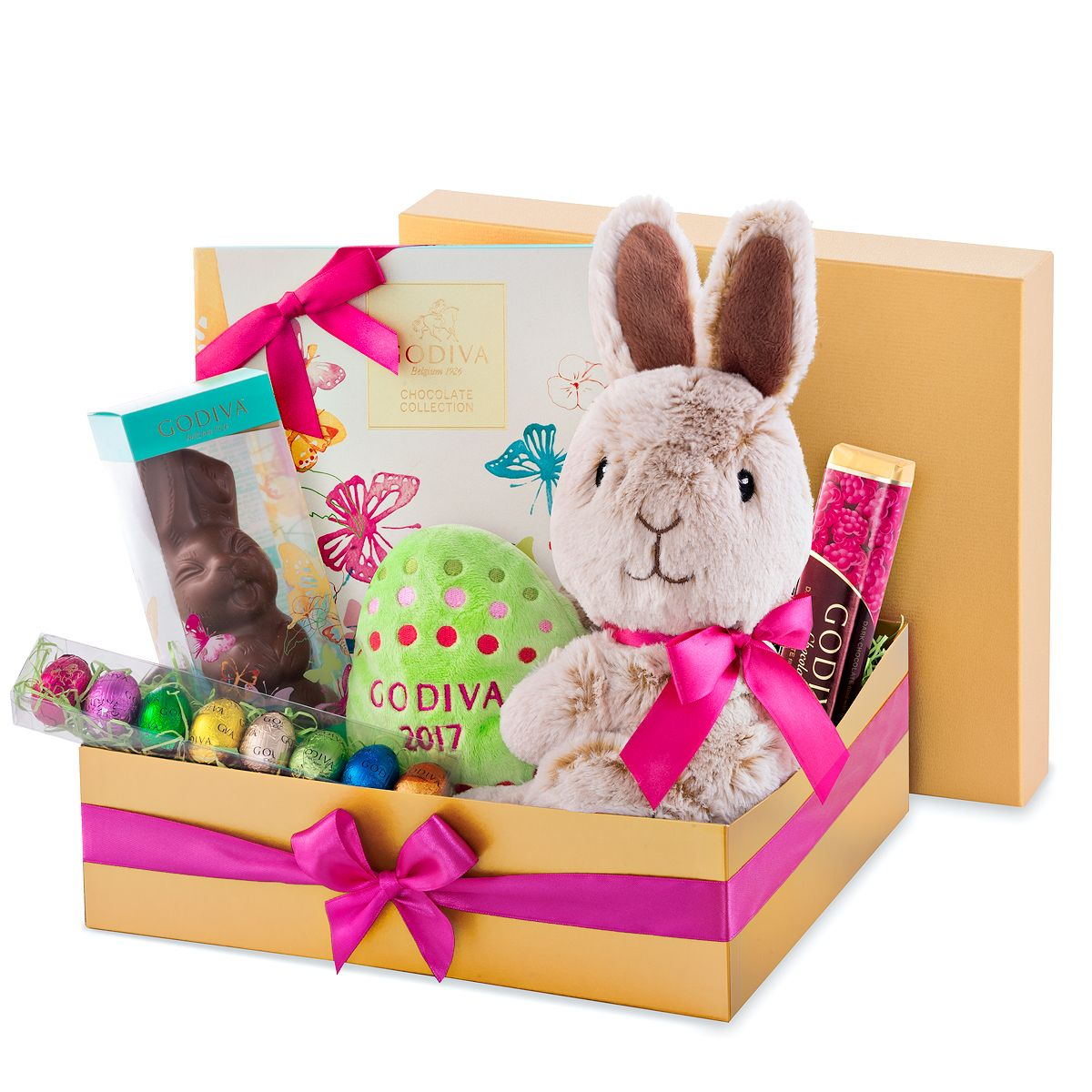 Hop into spring with this festive golden godiva gift box filled with easter gift baskets negle Gallery