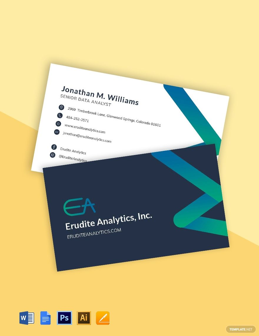 Data Analytics Business Card Template Word Psd Apple Pages Google Docs Illustrator Business Card Template Word Data Analytics Business Business Card Template