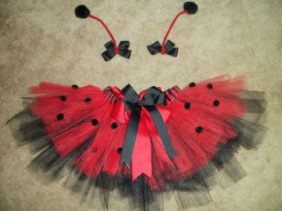 ladybug tutu costume with antenna bows custom made newborn. Black Bedroom Furniture Sets. Home Design Ideas