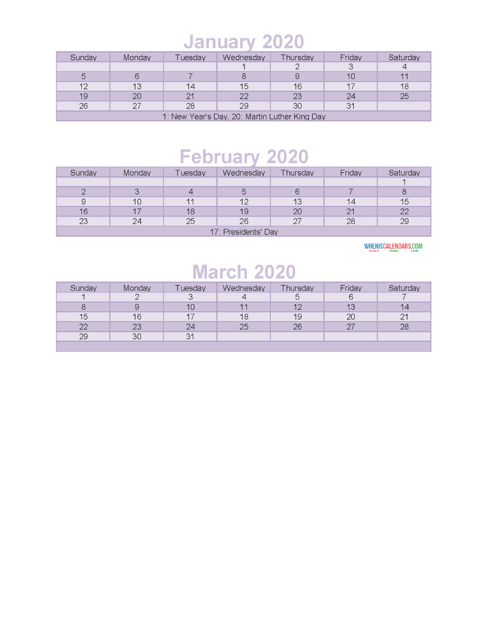 Free Printable 3 Month Calendar 2020 Jan Feb Mar Free Printable 2020 Calendar Templates Calendar Template Calendar 2020 Calendar