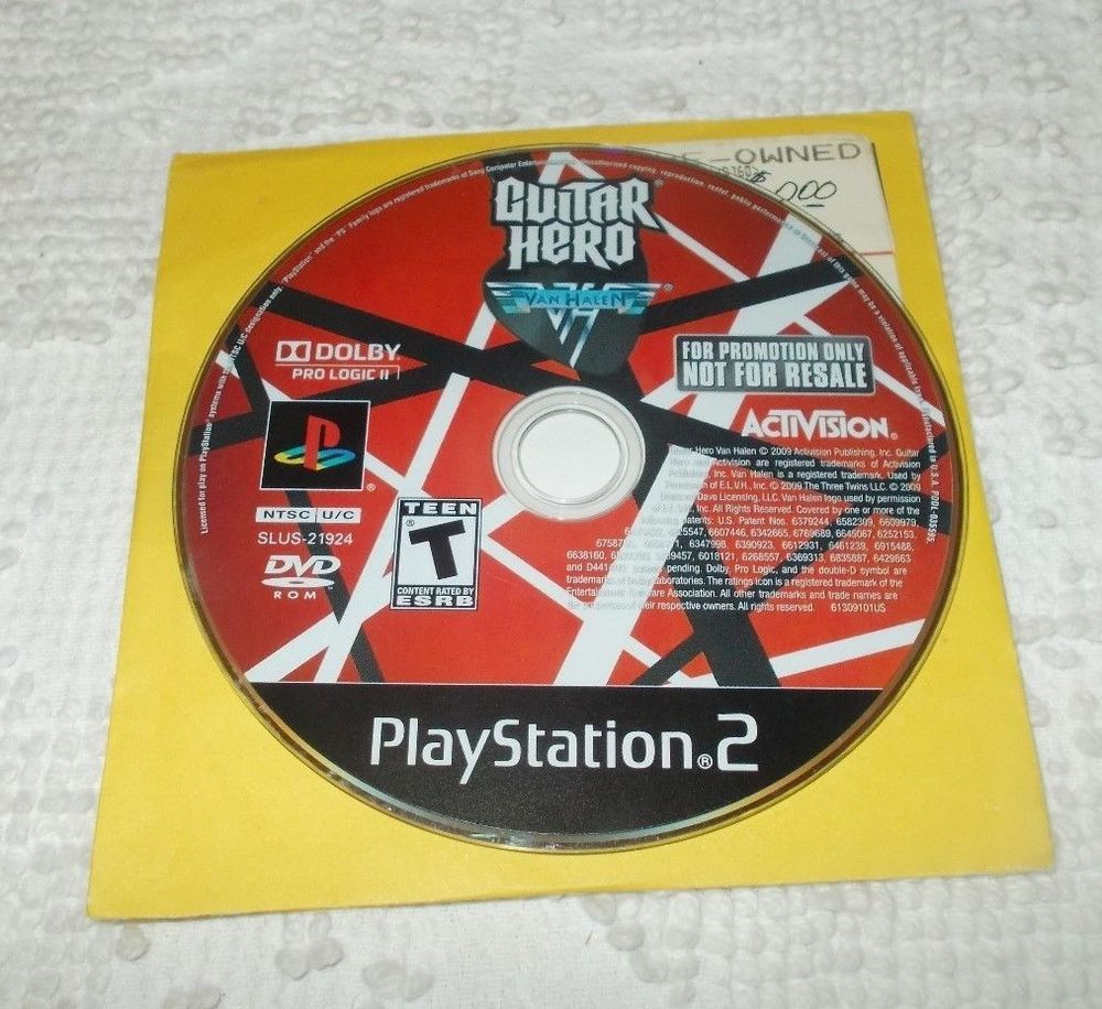 Sony Playstation 2 Ps2 Guitar Hero Van Halen Promotion Only Not For Resale Disk Nintendo Guitar Hero Van Halen Sony Playstation