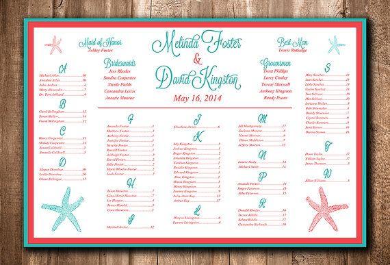 Beach Wedding Seating Chart Download Wedding Seating Sign - printable seating charts