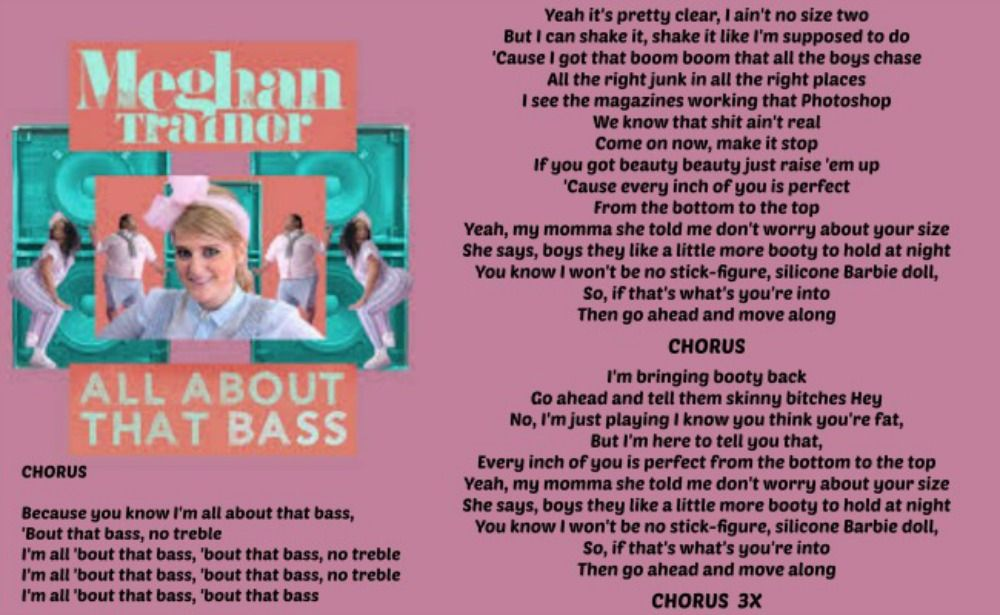 Lyric song title by lyrics : All About That Bass - Meghan Trainor Love the lyrics to this song ...