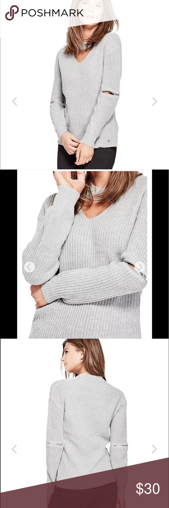 """121f80866ac61 Guess """"Maya"""" cut out sweater Guess """"Maya"""" cut out sweater in gray. Cut out  v neck choker neckline"""