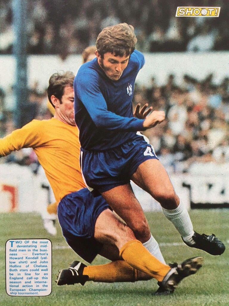 Chelsea 1 Everton 1 in Nov 1969 at Stamford Bridge. John Hollins is tackled by Howard Kendall #Div1