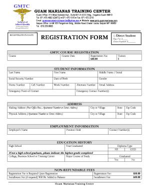 Sample Computer Training Registration Form Registration Form