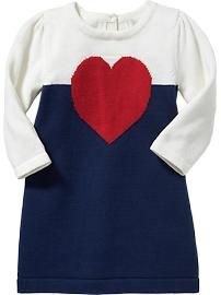 Color-Block Heart Sweater Dresses for Baby