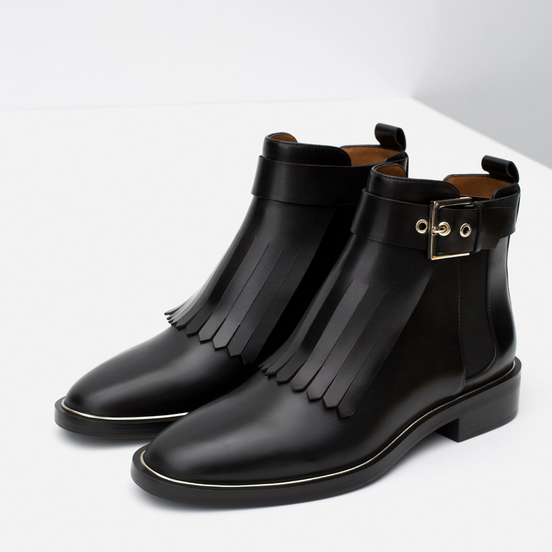 bottines en cuir et À franges chaussures femme collection aw15 zara france