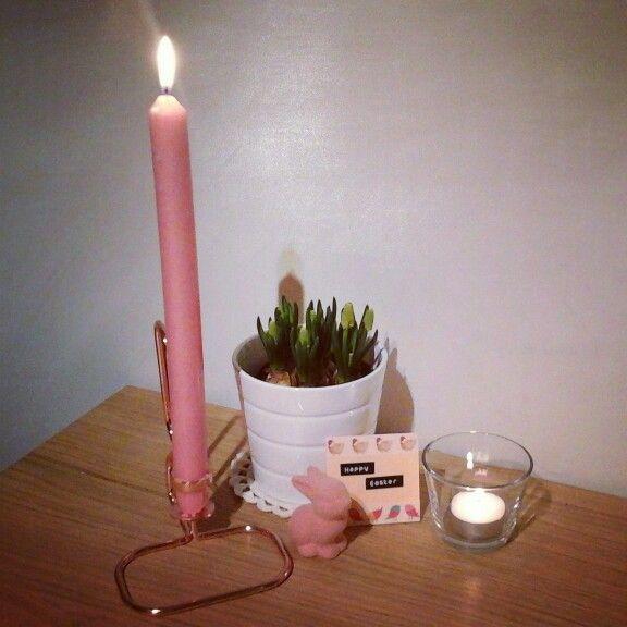 #decoreren met #Pasen // #easter #happyeaster #Hema #interieur #interieus #Ikea #Hay #kandelaar #konijntje