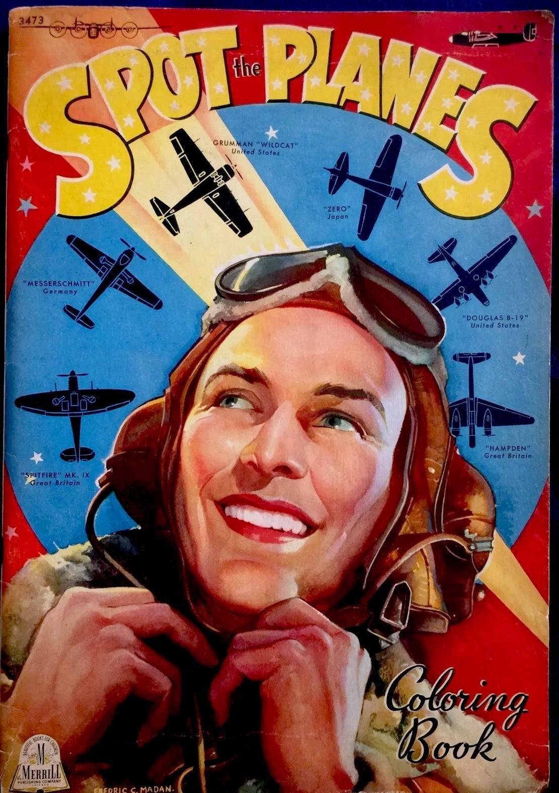 SPOT THE PLANES War Planes ~ Vintage 1940\'s Oversized Children\'s ...