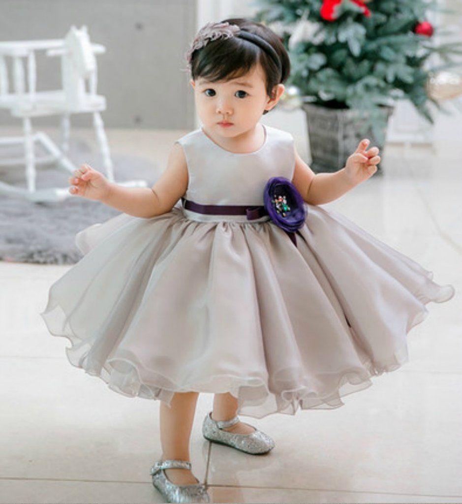Light Gray Flower Girl dress - High Quality Light Gray Fluffy Ruffles Sleeveless Knee Length Flower Girl Dress  This HiGH QUALITY dress is available from 3 month until 12 years old  Color: Light Gray Material: Polyester fiber, satin, cotton