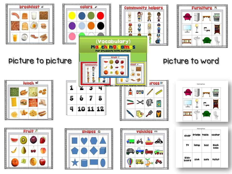 This File folder pack include real pictures for your student to practice matching picture to picture or picture to word. This pack can be used as File folder activities for independent work or practice vocabulary with your student by reinforcing the word while you play.