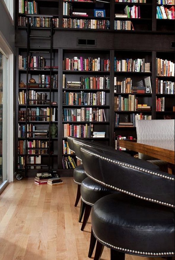 Floor to ceiling bookshelves with rolling ladder I would probably – Rolling Ladders for Bookcases
