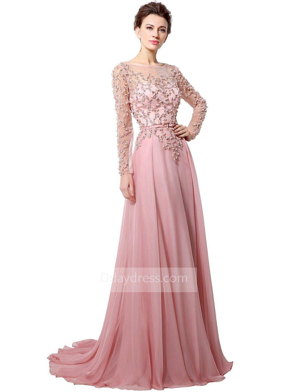 Long Sleeve Crystal Sequins A Line Chiffon Sheer Back Prom Dress