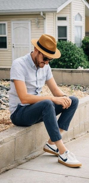 Timmelideo With A Summer Outfit Idea With A Brown Fedora Hat Light Blue Short Sleeve Button Up Shirt N Outfits With Hats Mens Fashion Summer Blue Chinos Men
