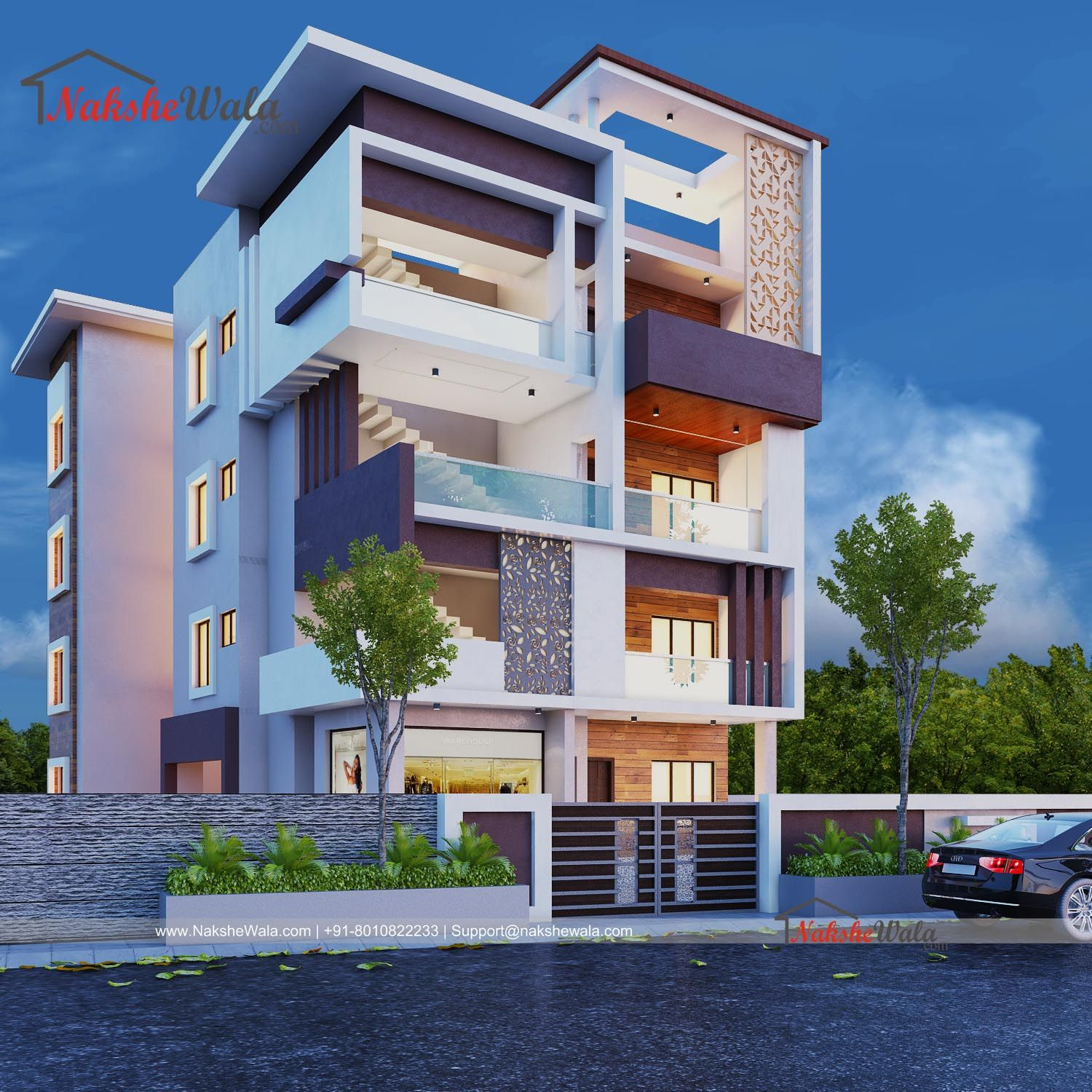 3D Front Elevation For Multi Storey House Designed By