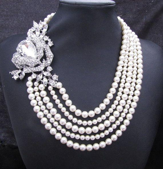 Bridal Pearl Necklace Ivory  Swarovski Pearls by DivineJewel, $175.00