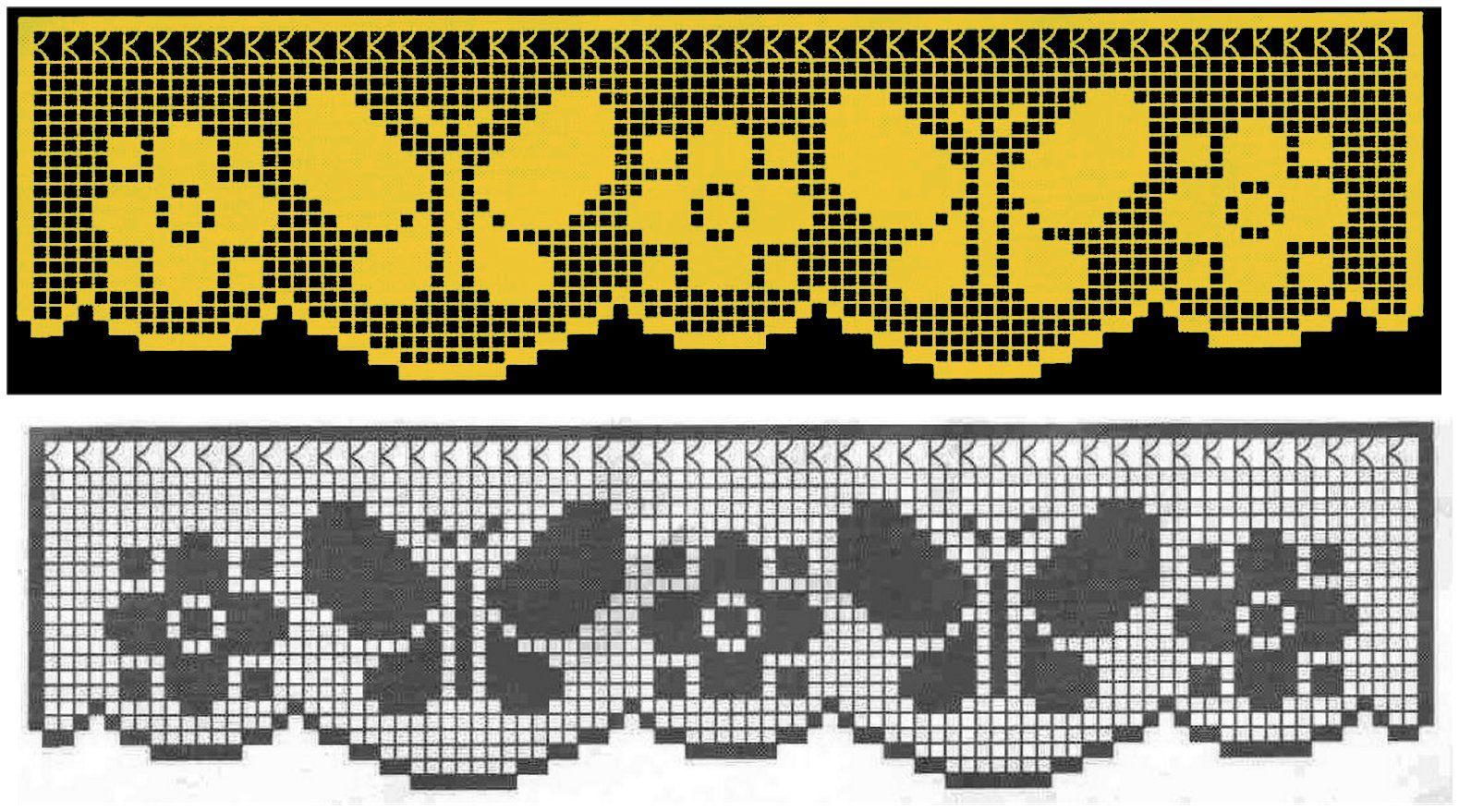 Miria Croches E Pinturas Barrados De Croche Com Borboletas N 264