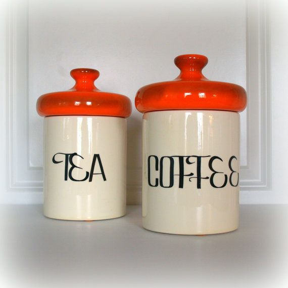 VINTAGE MID CENTURY Retro Canisters   Orange And Cream White   Coffee And  Tea Kitchen Canister
