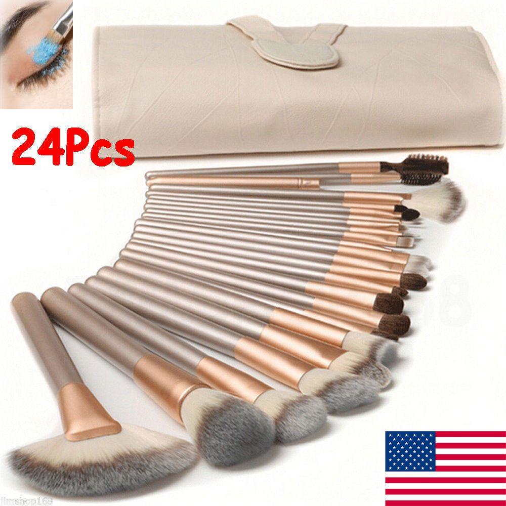 Details about Pro 24 Pcs Cosmetic Make Up Brush Set