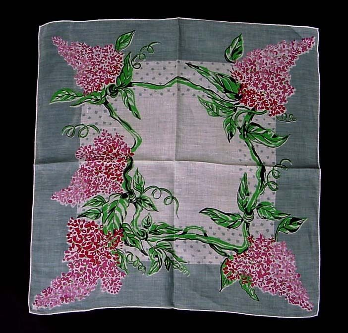 VINTAGE WISTERIA HANKIE 1940S HANDKERCHIEF COTTON HANKY ROLLED EDGE PINK GRAY #Unbranded #Floral