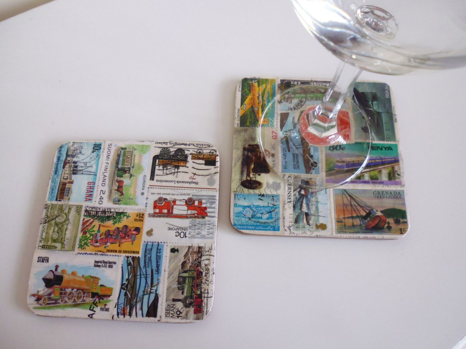 Drinks Coasters Mats Transport Trains Boats Planes Theme Postage Stamp Decoupage Postage Stamp Display Postage Stamps Postage Stamp Art