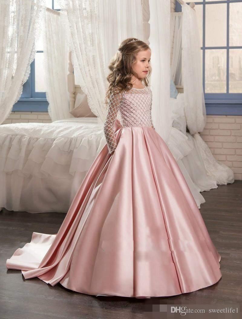Compre 2017 Princesa Mangas Largas Vestidos De Las Muchachas De Flor ...