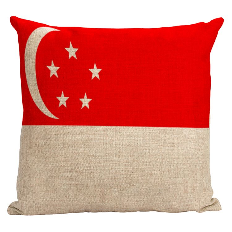 Singapore national flag pillow cover Star Moon flag cotton linen
