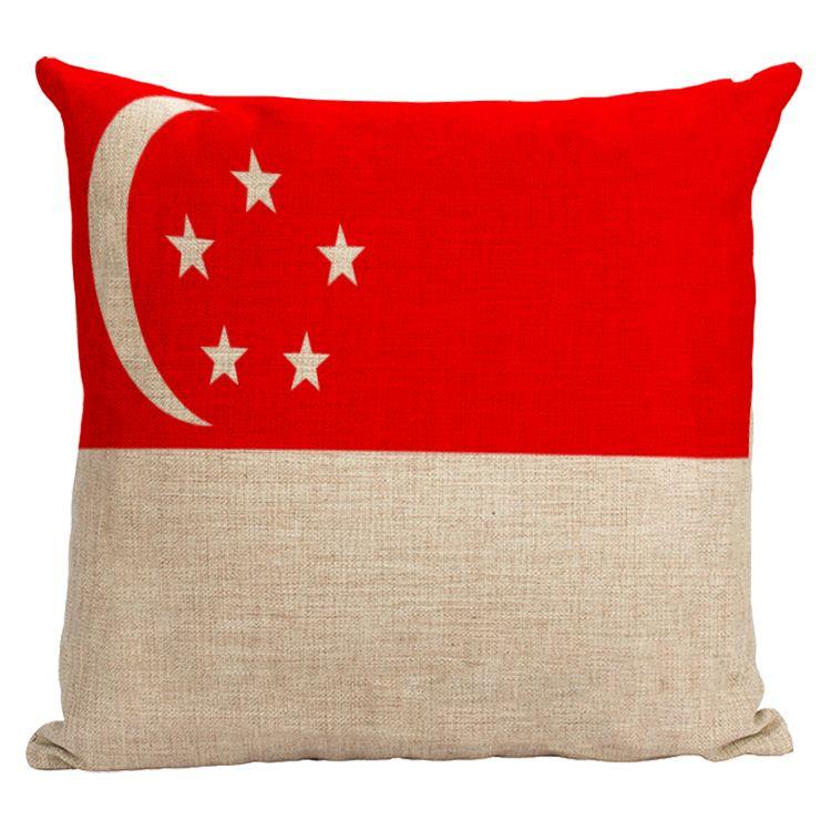 Singapore national flag pillow cover Star Moon flag cotton linen