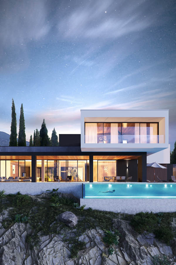 واجهات فلل وتصاميم فلل مودرن من تصاميم Studia 54 ديكورات أرابيا In 2021 Contemporary Architecture House House Architecture Design House