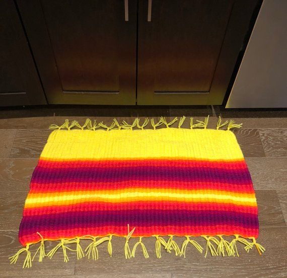 One Of A Kind Handwoven Floor Mat Made With Durable Absorbent High Quality Cotton Yarn This Mat Is Perfect Floor Rugs Rugs Handmade Home Decor