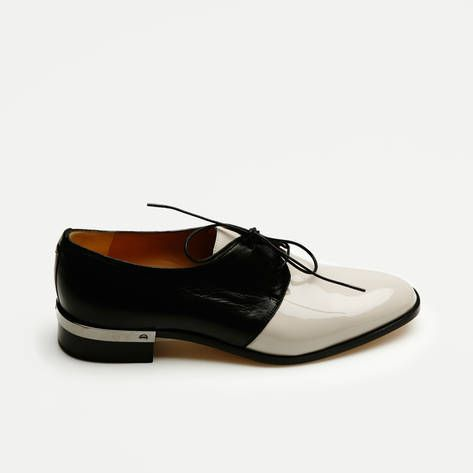 Nappa Patent Leather Flat Oxford - Nude Black  e920b4e48de