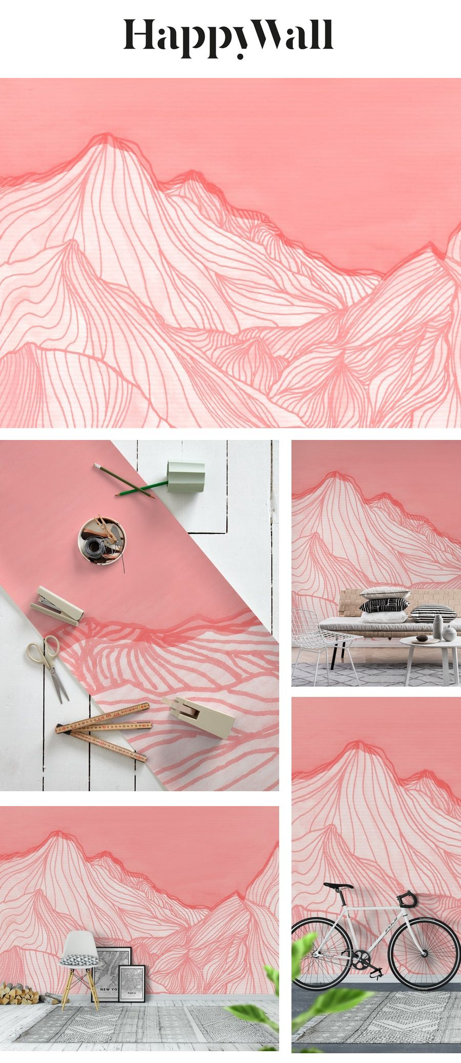 Lines In The Mountains Pink Wall Mural Abstract Wallpaper Pink Walls Wall Murals