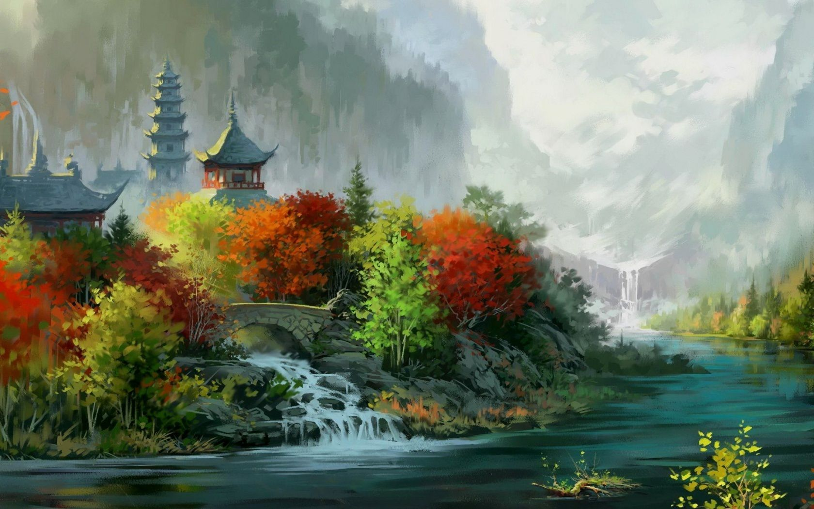 Image detail for -Chinese temple art wallpaper ...