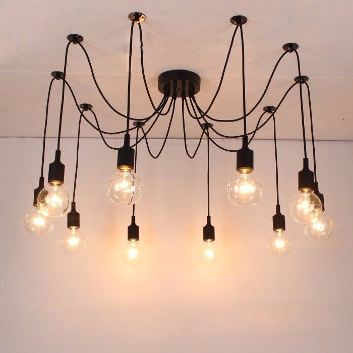 Free Shipping Silicone Colorful Pendant Lights Diy Multi Color E27 Bulb Holder Lamps 10 Arms