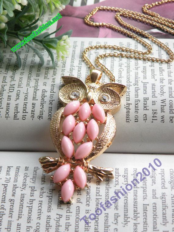 Luxury+retro+gold+owl+with+pink+feather+necklace+by+toofashion2010,+$4.99