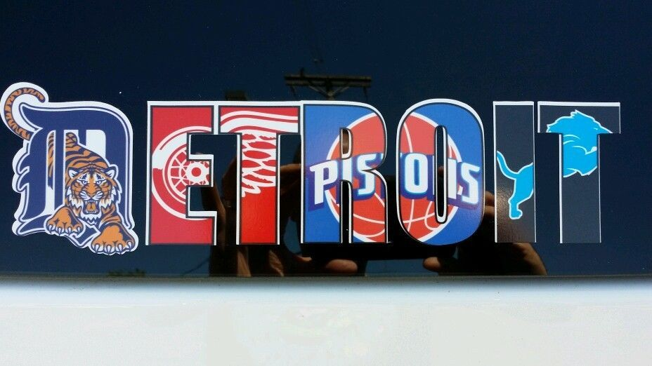 Detroit Pro Team Logos Vinyl Decal Tigers Red Wings Lions Pistons 15in X 4in Ebay Detroit