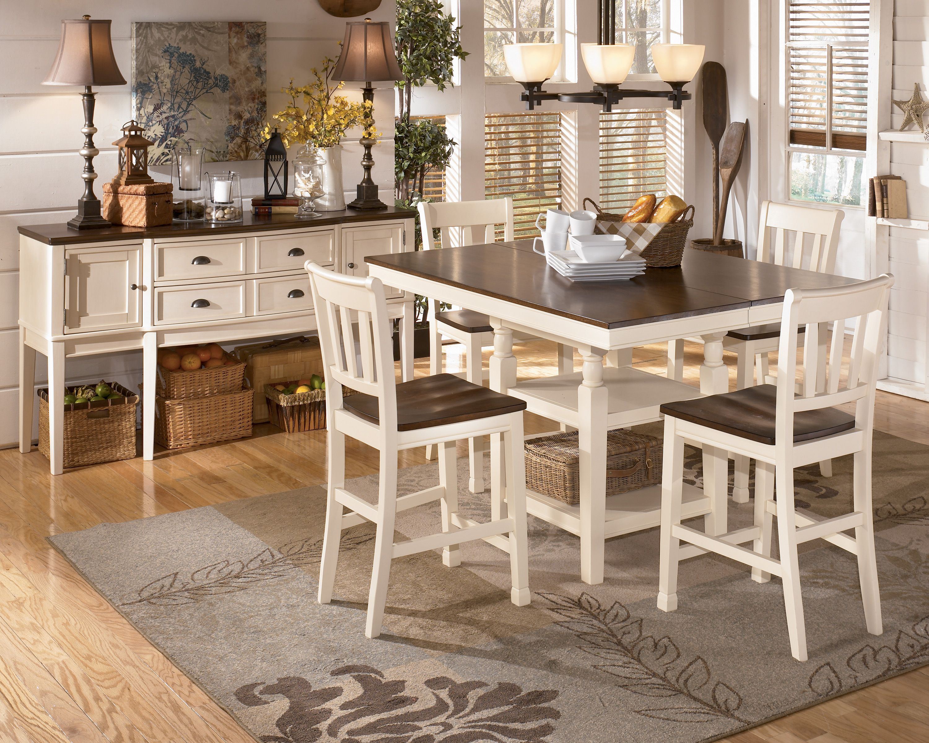 Sku D583 32 224 4 60 T Casual Pub Table Set Cottage White Brown Square Pub Table An Dining Room Sets Square Kitchen Tables Counter Height Dining Room Tables