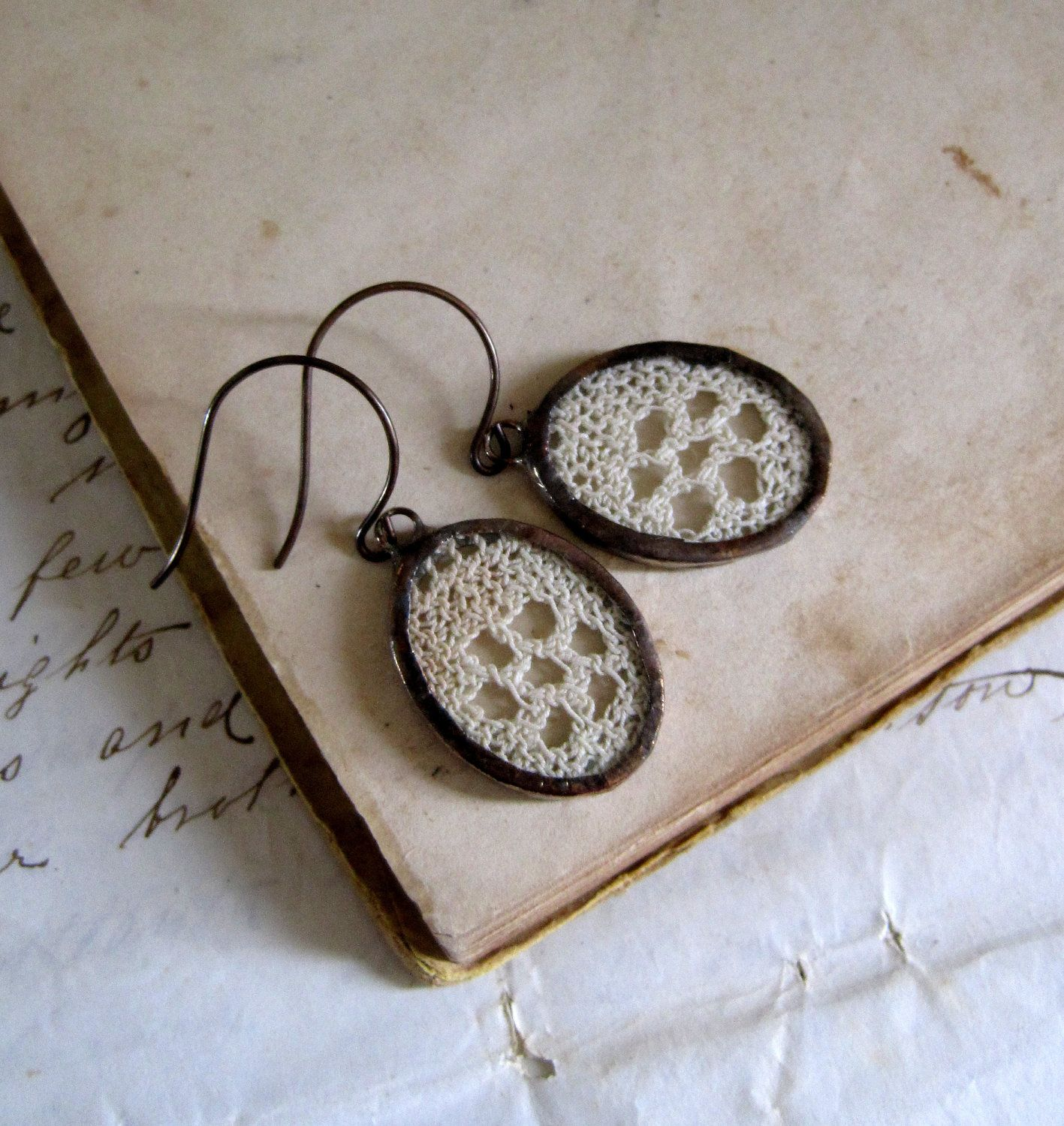 Vintage Crochet Lace Earrings I absolutely need these.