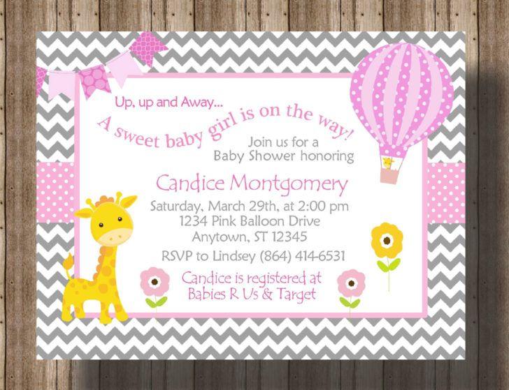 Charming Gray Chevron Giraffe Baby Shower Invitation Template Gray - baby shower invite templates