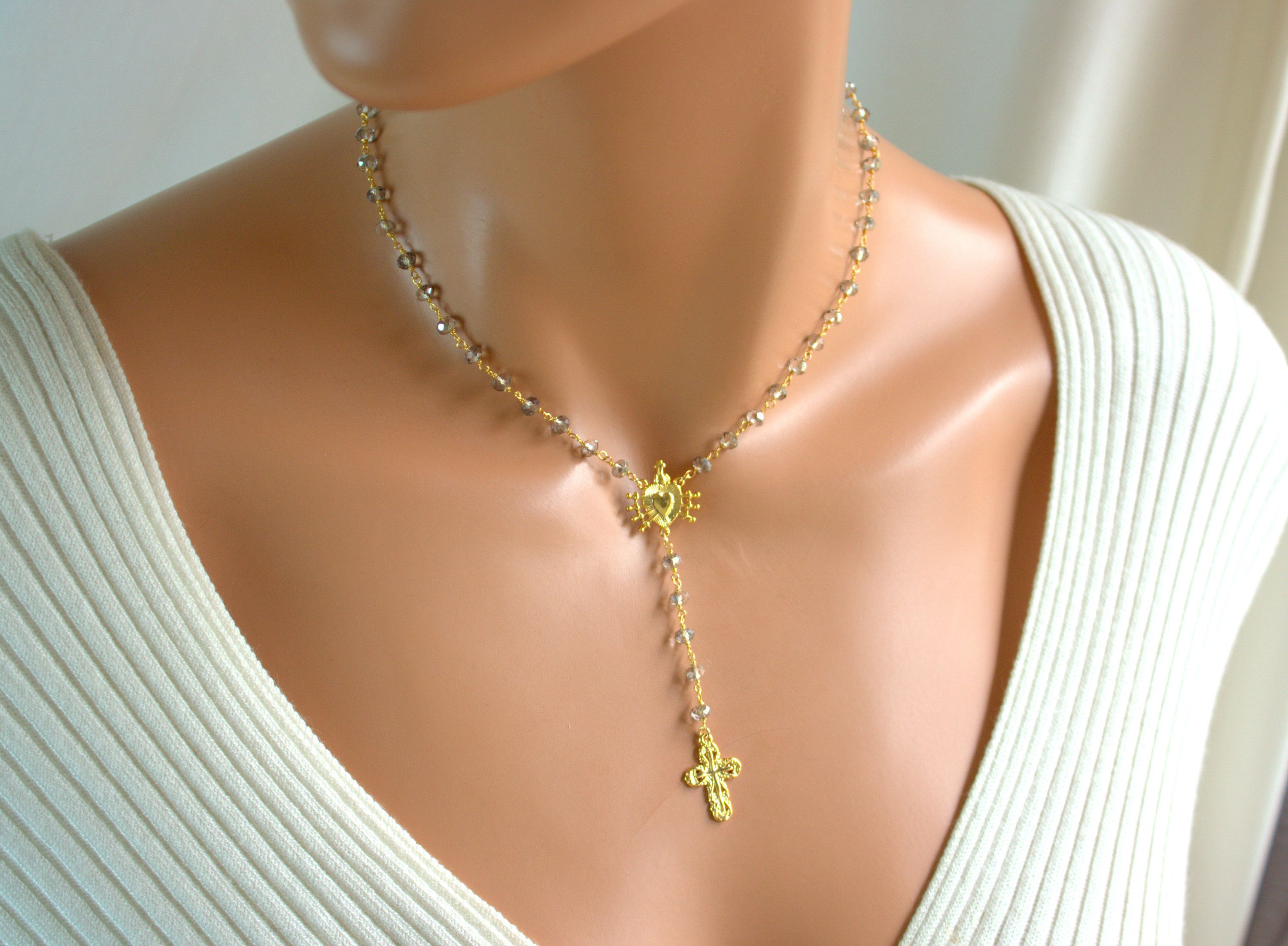 Freshwater cross pendant necklace Multi strand necklace Crystal cross chain necklace Layered charm chain necklace Minimalist