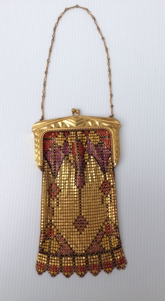 Great Art Deco Mesh Purse With Geometrics And Enamel Detail Signed Whiting Davis Clothing, Shoes & Accessories