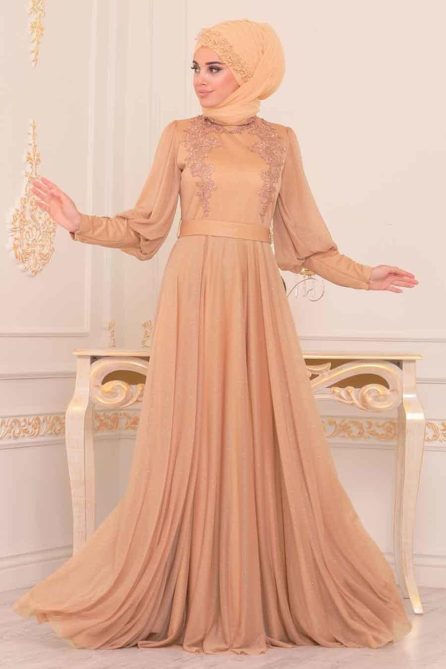 Tesetturlu Abiye Elbise Balon Kol Gold Tesettur Abiye Elbise 39270gold Tesetturisland Com The Dress Elbise Sik Kiyafetler