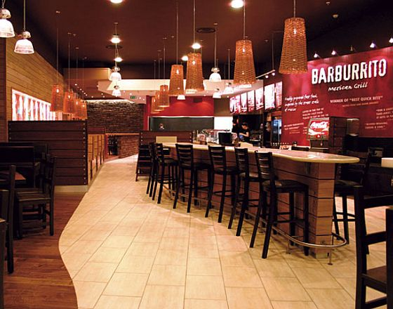 Interior design of fast food restaurant modern world